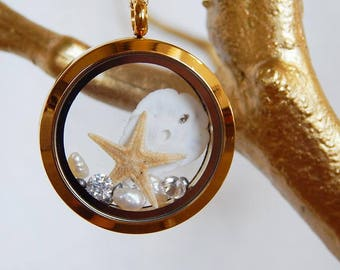 Locket Pendant, 14kt gold filled chain, freshwater pearl, rhinestones, swarovski, sand dollar, starfish, made in hawaii, wedding, keepsake