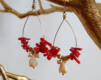 Earring - Red Coral, 14kt Gold Filled, Pikake, Mother of Pearl, Flower Bud, Hoops, Botanical, Jasmine, Made in Hawaii
