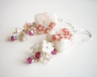 Cherry Blossom C, Earrings / Lampwork Glass, Swarovski Crystal, Sterling Silver, Pink, Floral, Spring, Square, White, Snow, Mochi, Petal