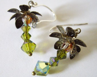 Coconut Tree Cuties - Earrings / Sterling Silver, Swarovski Crystal, Antique Brass, Green, Palm Tree, Coconut, Hawaii, Tropical, Resort