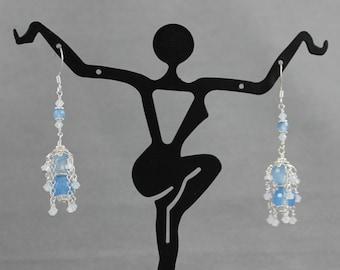 Sky Blue Quartz & Opal Crystal Earrings