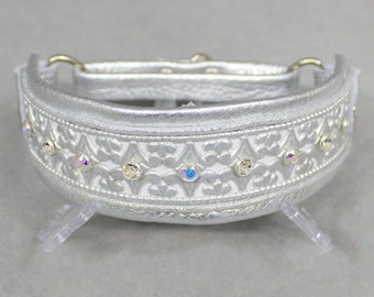 Silver and White Winter Wonderland Leather Martingale Collar