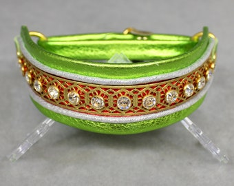 Happy Holidays Leather Martingale Collar