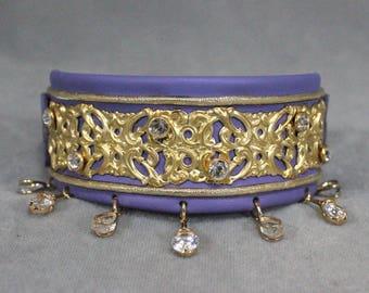 Lavender, Gold Filigree, and Swarovski Crystal Leather Martingale Dog Collar