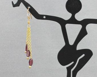 Delicate Garnet & Chain Earrings - 3 dangles