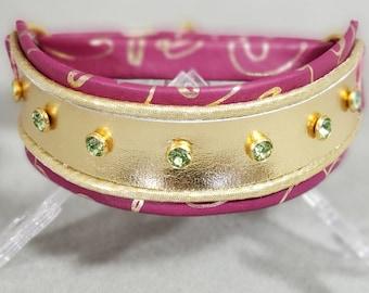 Raspberry & Gold Swirl Leather Martingale Collar