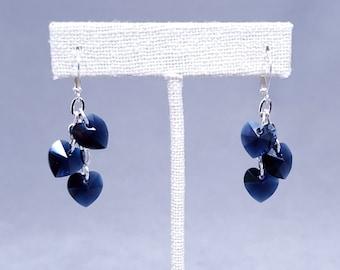 Indigo Blue Heart Earrings