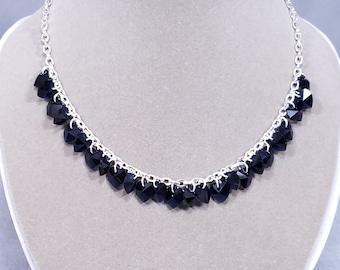 Indigo Blue Crystal Hearts Necklace