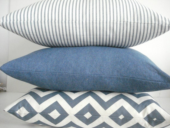 FRENCH TICKING pillow cover denim blue