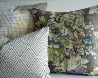 CHOOSE YOUR COORDINATES- Decorative Designer Pillow Cover -Taupe-Teal-Ivory -Lime- Latte -Citron  Covers
