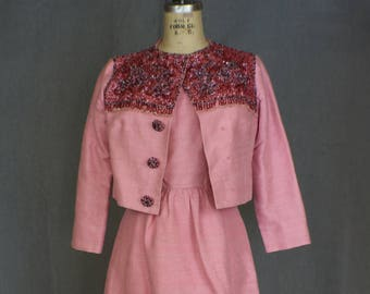 1960's Silk Beaded Dress / Pink Cocktail Dress With Matching Jacket / Vintage Two Piece