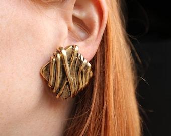 Gold Twine Earrings / Vintage Statement Jewelry / Costume Jewelry Oversize Clip On Earrings