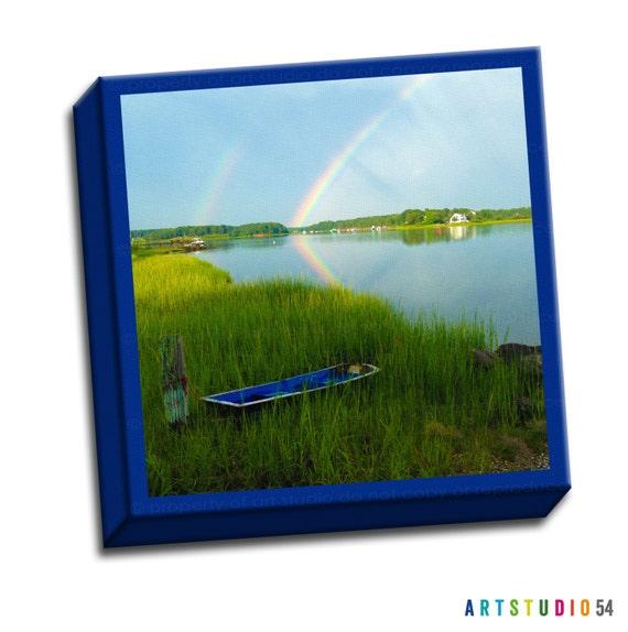 "Cape Cod Massachusetts Rainbow-  6""x6"" to 36""x36"" - 1.25"" Deep - Gallery Wrapped Canvas - artstudio54"