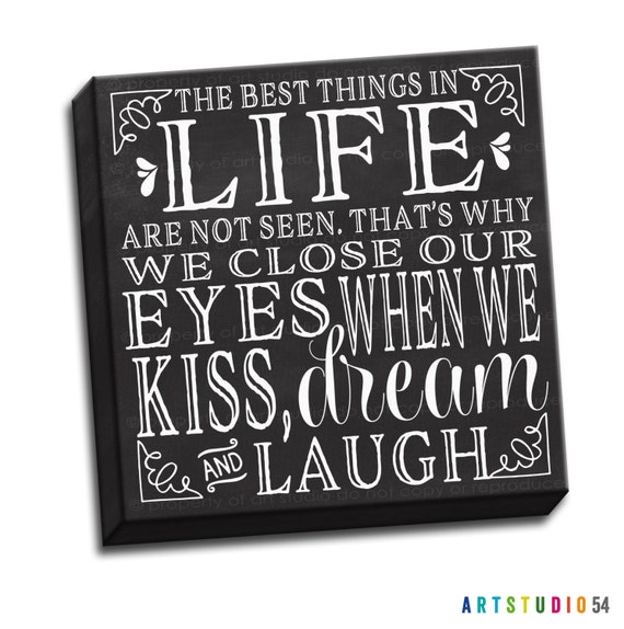 """Kiss Dream Laugh Chalkboard Black and White Typography Quote - 6""""x6"""" to 36""""x36"""" - 1.25"""" Deep - Gallery Wrapped Canvas - artstudio54"""