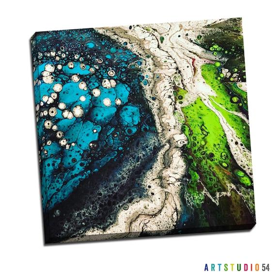 "Liquid Art #7 Abstract Art Canvas - 16""x20"" or 20""x20"" - 1-1/4"" Thick Bar Gallery Wrapped Canvas - Artstudio54 - Liquidart54"