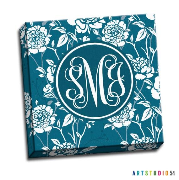 "Monogram Canvas Print - Personalized Custom Canvas Print -  12""x12"" to 36""x36"" - 1.25"" Deep - Gallery Wrapped Canvas - artstudio54"