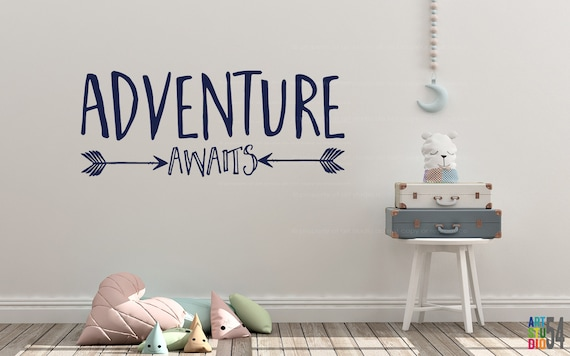 Adventure Awaits Vinyl Wall Decal - Vinyl Wall Sticker Decal Indoor Decor Decoration - White, Black, Blue, Gold, - artstudio54