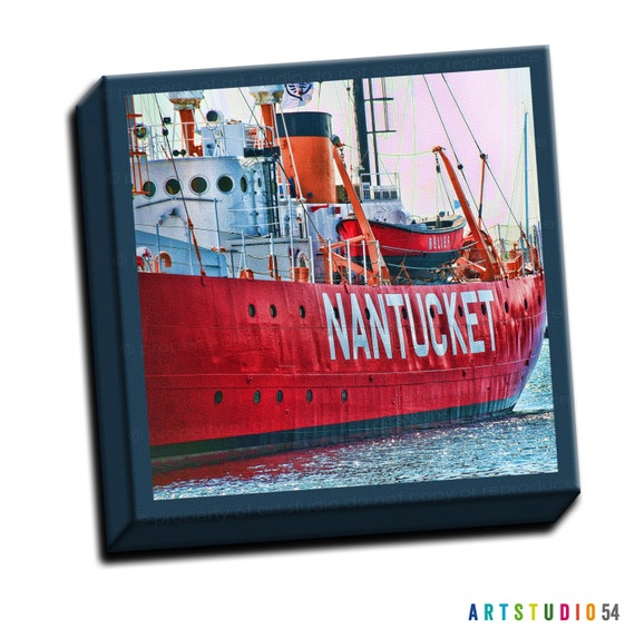 """Nantucket Boat - Blue Red Teal -  6""""x6"""" to 36""""x36"""" - 1.25"""" Deep - Gallery Wrapped Canvas - artstudio54"""