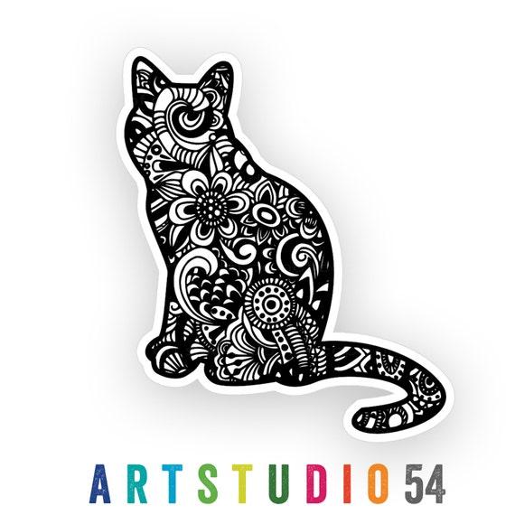 Weatherproof Vinyl Sticker - Cat Henna Peace Hand, Unique, Fun Sticker for Car, Luggage, Laptop - Artstudio54