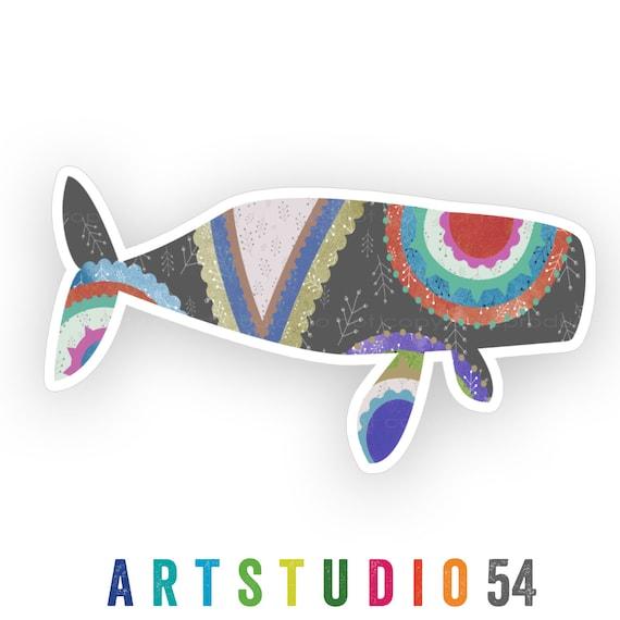 Weatherproof Vinyl Sticker - Whale - Unique, Fun Sticker for Car, Luggage, Laptop - Artstudio54
