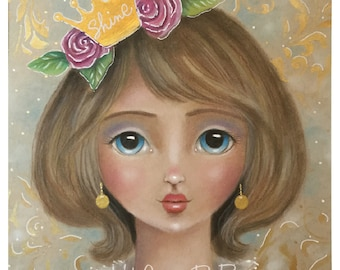 Blank Note Card, Shine, Pretty Regal-Looking Brown Haired Girl with Shiny Gold Crown and Pink Roses