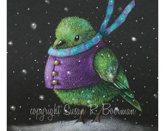 Blank Christmas Note Card, Green Bird Wearing a Purple Vest and Striped Scarf Walking in the Snow
