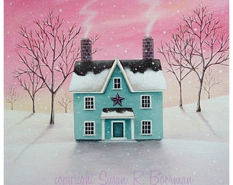 Blank Note Card, Winter Sunrise, Winter Landscape, Blue House in the Snow at Sunrise, Pink Sky, Winter Landscape with House and Bare Trees