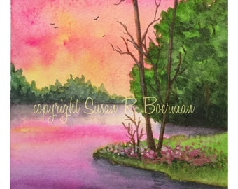 Blank Note Card, Colorful Pink Sky, Still Water, Trees, Flowers, Serene Landscape