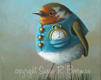 Fine Art Print, English Robin Wearing a Blue Vest with a Gold Pocket Watch