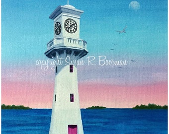Blank Note Card, Lighthouse Clock, Lighthouse with Pink Door, Whimsical Lighthouse, White Lighthouse