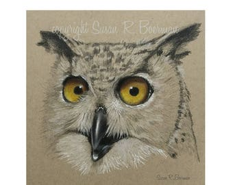 Blank Note Card of a Black and White Owl Sketch with Orange Yellow Eyes