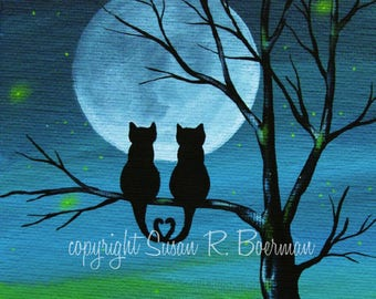 Cat Lovers Silhouette - 8 X 10 Print of Silhouetted Cats Sitting on Tree under a Full Moon (can be personalized)