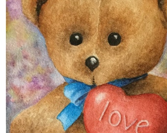Blank Note Card, Teddy Bear Love, Brown Teddy Bear with a Blue Ribbon Holding a Red Heart with Love