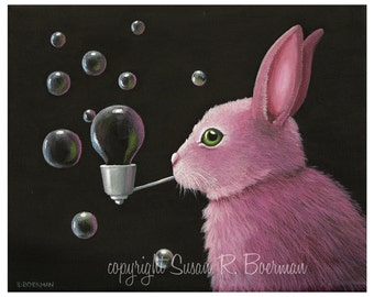 Fine Art Print, 8 x 10 Pink Bunny Bubbles, Pink Bunny Blowing Bubbles through a Silver Pipe