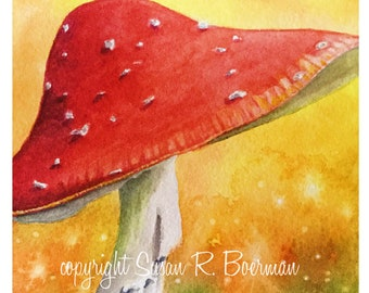 Blank Note Card, Red Mushroom with White Flecks in the Grass Against an Orange Yellow Sky