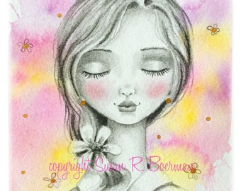 Blank Note Card, Mixed Media Peaceful Girl with Ponytail and Shiny Flower Headband, Girl with Flower in Her Hair