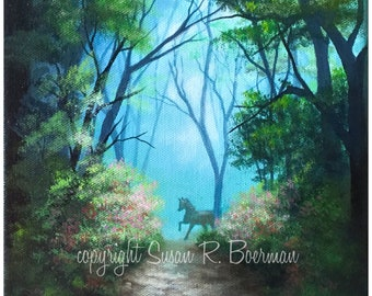 Blank Note Card, Out of the Mist, Running Horse, Horse Silhouette, Horse in the Woods, Wooded Road, Dirt Road, Pathway, Horse on Path