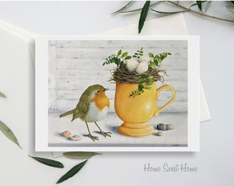Blank Note Card, Home Sweet Home, Robin and Nest, Mug with Nest and Eggs, English Robin and Nest and Eggs