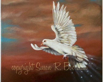 Blank Note Card, Peace, White Dove, Dove Spreading Peace, Dove Flying in Sky, Dove at Dawn