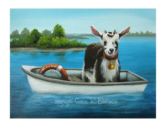 goat in a boat blank note card brown and white goat standing etsy