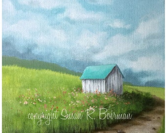Blank Note Card, Little Shed, Shed with Blue Roof, Small Building, White Shed, White Outbuilding, Shed in the Grass