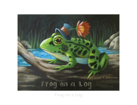 8 X 6 Frog On A Log Fine Art Print Of A Frog Wearing A Mini Etsy