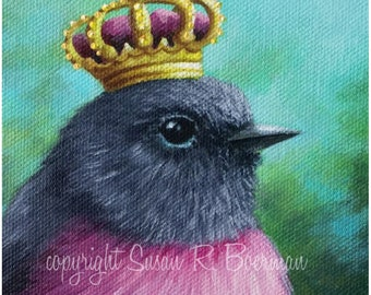 Blank Note Card, Pink Robin Queen, Pink Robin, Bird with Crown, Gold Crown, Royal Bird