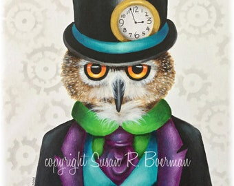 Blank Note Card, Mister Steampunk Owl, Owl Wearing Top Hat, Pocket Watch, Owl in Suit, Gears, Steampunk