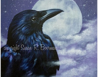 Blank Note Card, Raven's Moon, Raven and Full Moon, Full Moon, Crow, Clouds and Moon, Wispy Clouds, Raven in Wispy Clouds, Night Sky