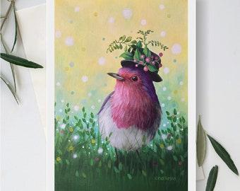 Blank Note Card, Fancy Bird, Pink and Purple Bird, Bird Wearing Hat, Bird Standing in Grass, Pretty Bird