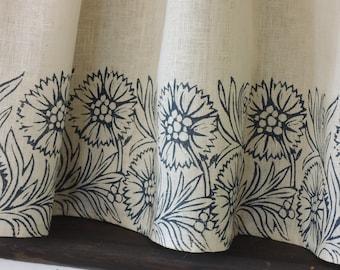 Dianthus botanical linen kitchen home decor cafe curtains