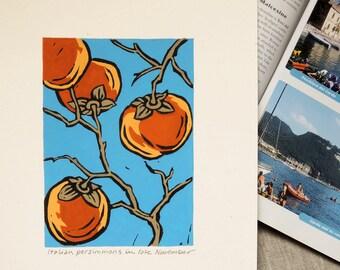 Italian persimmons original hand block print gardening art kitchen botanical home decor