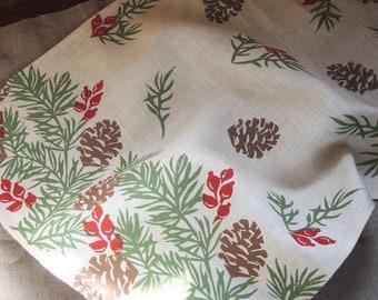 Pine Boughs Decor Linen Tea Towel holiday home rustic decor