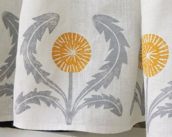 Dandelion Cafe Curtain or Valance by giardino hand block printed botanical gray yellow ochre green coral taupe home decor